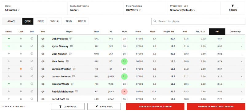 NFL DFS Lineup Optimizer (Generate Up To 500 Lineups) | 2016